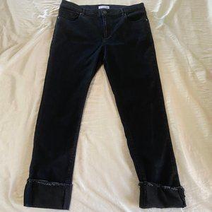 Ann Taylor Loft Black Rolled Capri Pants